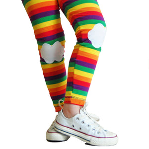 Rainbow Leggings with Cloud Knee Patches