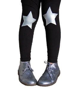 Silver Star Knee Patch Leggings in Black