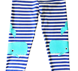 Blue Whale Applique Striped Leggings