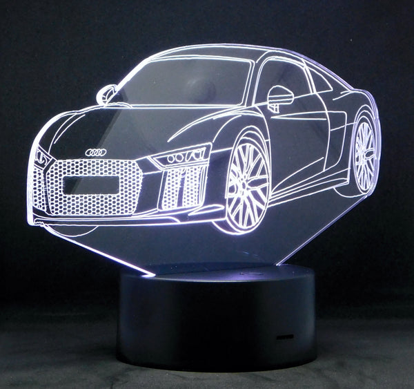 Audi R8 3-D Optical Illusion Multicolored Light