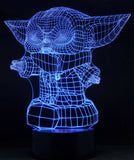 Baby Yoda Standing 3-D Optical Illusion LED Desk, Table, Night Lamp