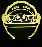 Baby Yoda 3-D Optical Illusion LED Desk, Table, Night Lamp