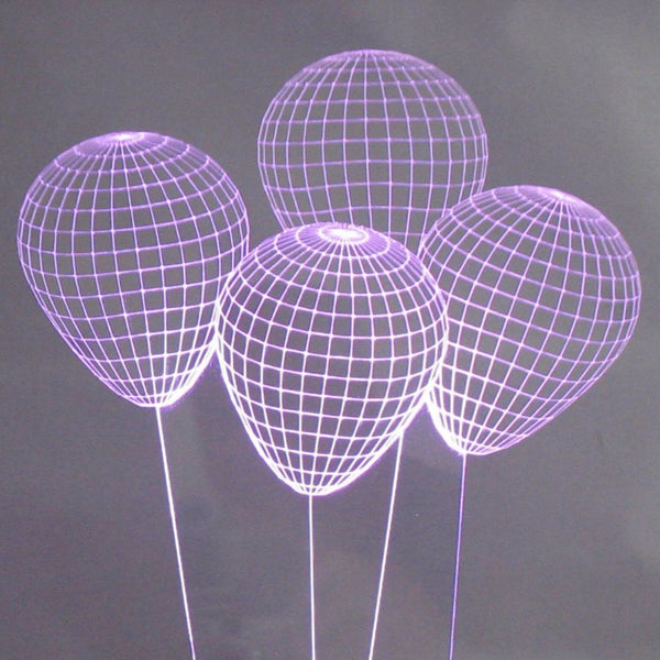 Balloons 3-D Optical Illusion Multicolored Light