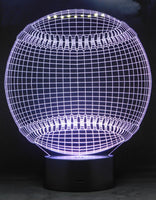 Baseball 3-D Optical Illusion Table or Night Lamp