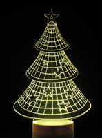Christmas Tree with Stars 3-D Optical Illusion Table, Night Lamp