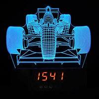 Formula 1 Front of Race Car 3-D Optical Illusion Multicolored Clock Light