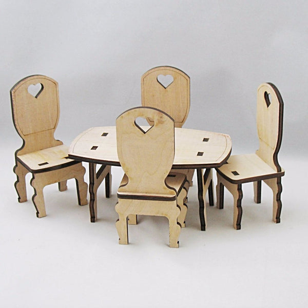 Dollhouse Furniture Unfinished Dining Set