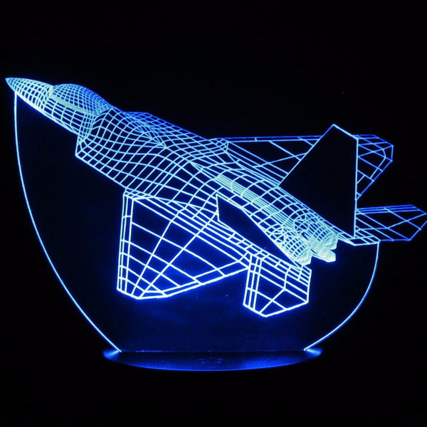 F-22 Raptor Fighter Jet 3-D Optical Illusion LED Desk, Table, Night Lamp