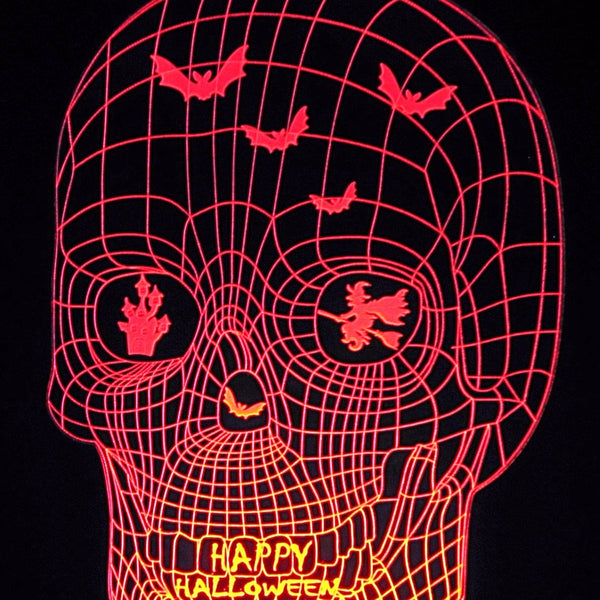 Halloween Image 3-D Optical Illusion Laser Cut with Multicolored LED Light