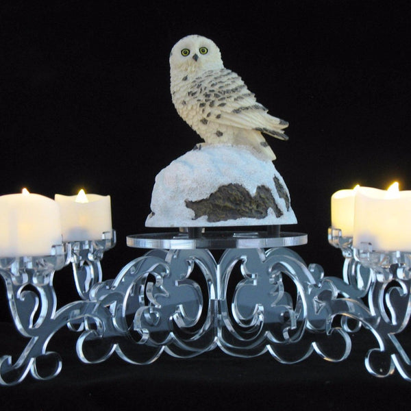 LED Candle Holder with Center Display Clear Acrylic