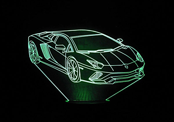 Lamborghini 3-D Optical Illusion Multicolored Light