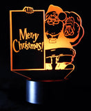 Merry Christmas Santa 3-D Optical Illusion Table, Night Lamp