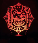 Miami Dade Firefighter Logo Multicolored LED Desk, Table, Night Lamp