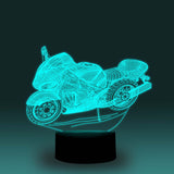 Motorcycle Street Bike  3-D Optical Illusion LED Desk, Table, Night Lamp