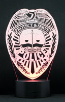 Police Logo Multicolored LED Desk, Table, Night Lamp