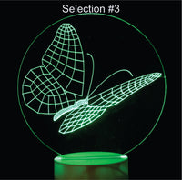 Butterflies 3-D Optical Illusion LED Desk, Table, Night Lamp