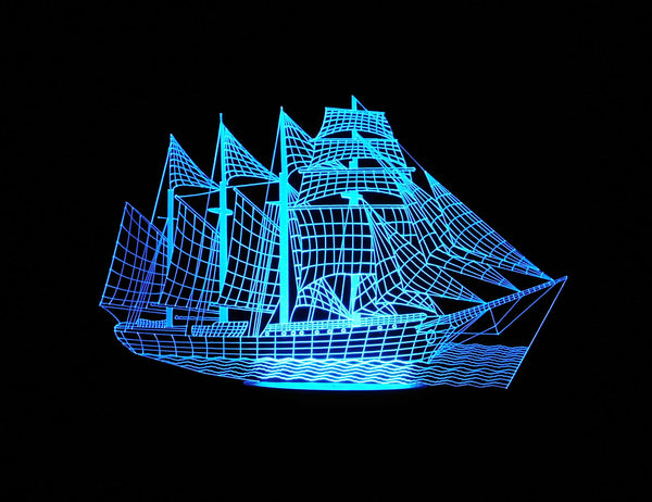 Sailing Ship 3-D Optical Illusion LED Desk, Table, Night Lamp