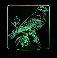 Sparrow on Branch 3-D Optical Illusion LED Desk, Table, Night Lamp