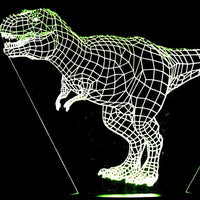 Dinosaurs 3-D Optical Illusion LED Desk, Table, Night Lamp