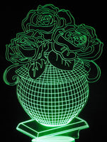 Vase with Roses 3-D Optical Illusion LED Desk, Table, Night Lamp