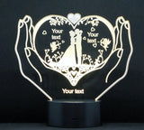 Wedding Pair Hands Multicolored LED Desk, Table, Night Lamp