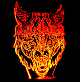Wolf Head Image 3-D Optical Illusion LED Desk, Table, Night Lamp