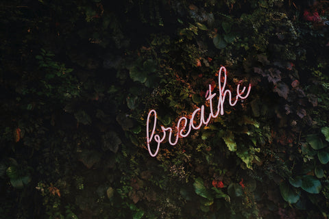 "a green leafy background with pink neon cursive that says ""breathe"""