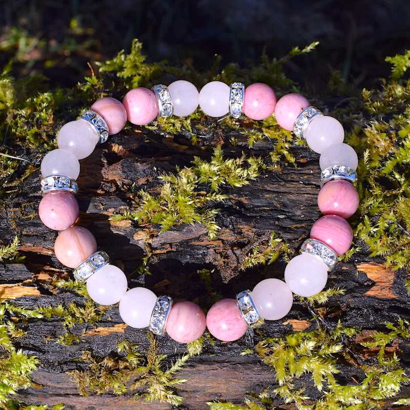bracelet rhodonite et quartz rose