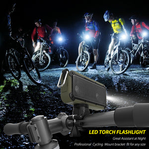 Bike Bluetooth Speaker Waterproof Loudspeaker with LED Flashlight