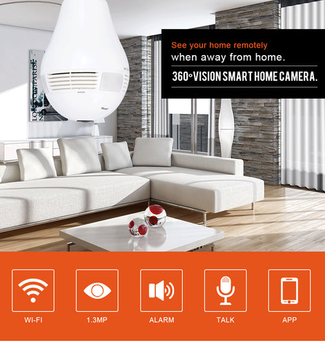 Home Security WiFi Panoramic Bulb Light Camera