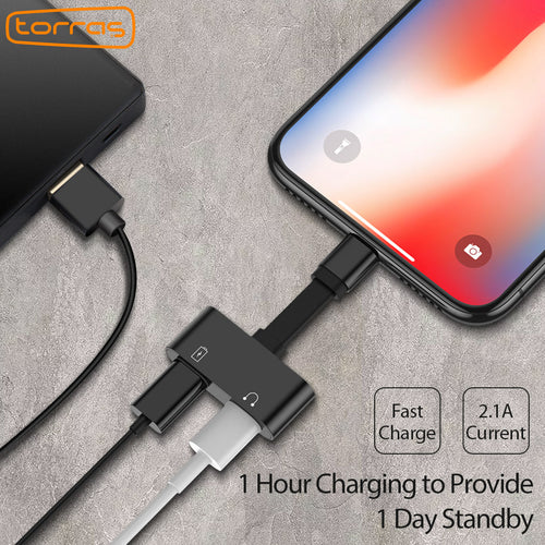 2 in 1 Lightning Adapter for iPhone 7/7 Plus, iPhone 8/8 Plus, iPhone X (Audio + Charge)