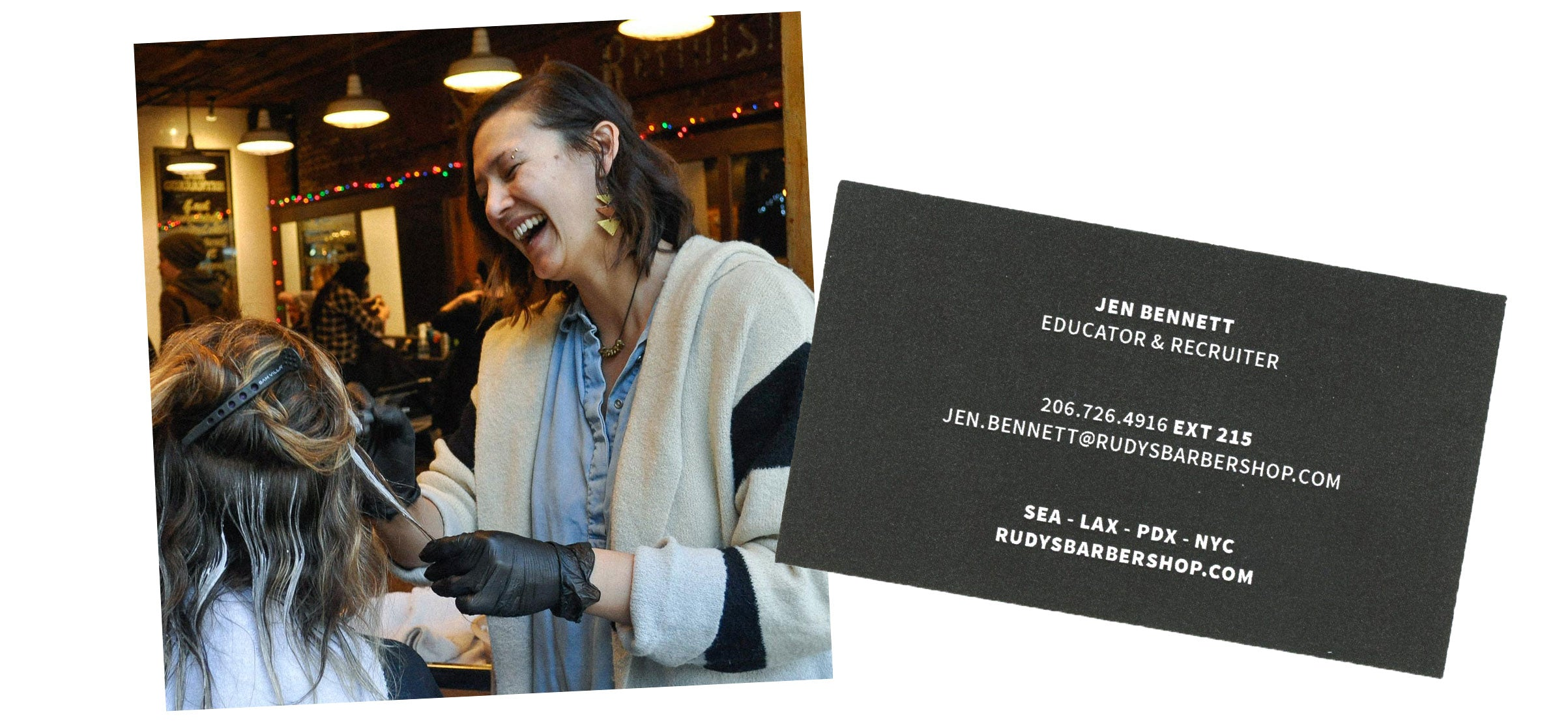 Photo of Jen Bennett doing balayage and her business card
