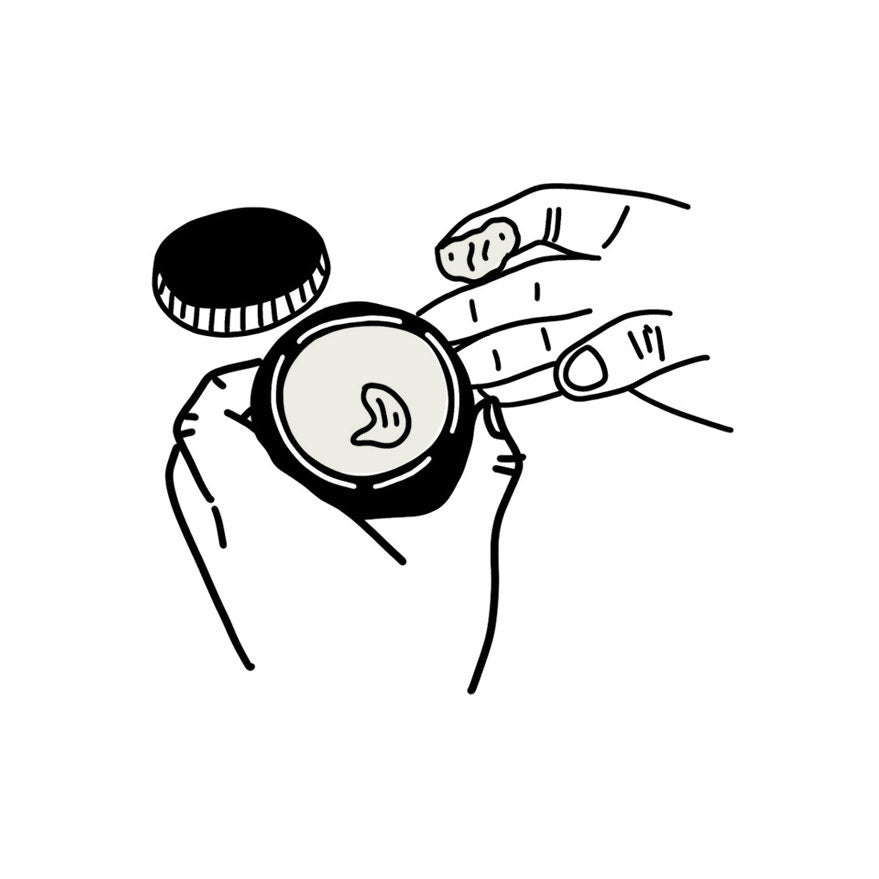 Illustration of hands scooping pomade