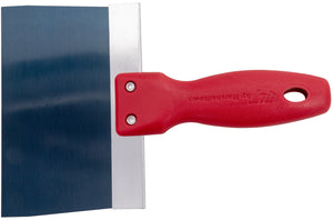 "6"" x 3"" Blue Steel Taping Knife with Plastic Handle"