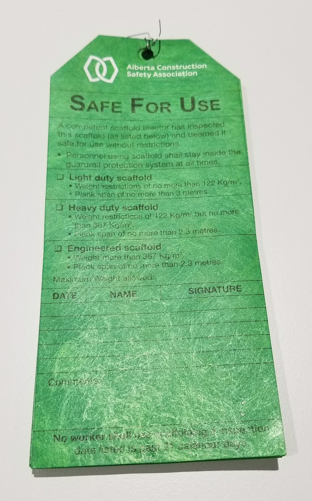 Green Scaffold Tags - Safe For Use