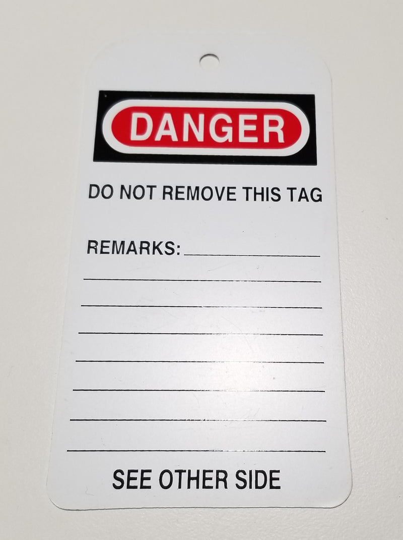 White Scaffold Tags - Danger/Do Not Operate
