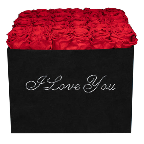 Summer Sale - Already Marked Down - I Love You Black Velvet Box - 36 Roses - Black/x 36/Red