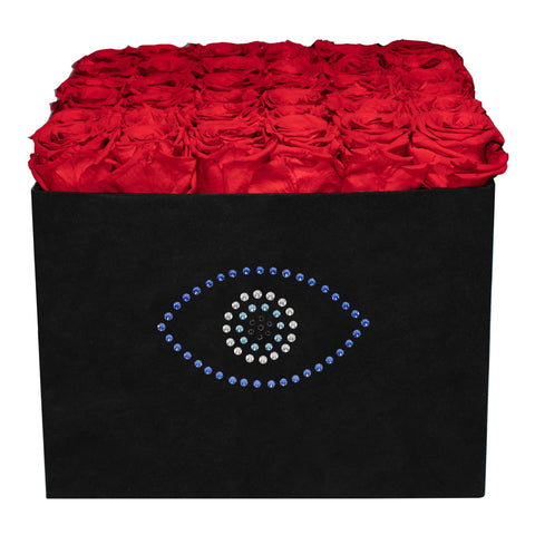 Summer Sale - Already Marked Down - Evil Eye Black Velvet Box - 36 Roses - Black/x 36/Red
