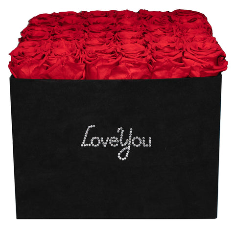 Summer Sale - Already Marked Down - Love You Black Velvet Box - 36 Roses - Black/x 36/Red