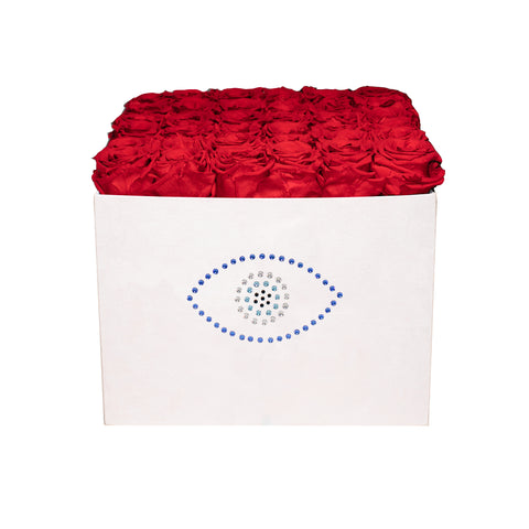 Summer Sale - Already Marked Down - Evil Eye Pink Velvet Box - 36 Roses - Pink Pastel/x 36/Red