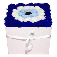 FOR YOU - Evil Eye Pink Velvet Large Grand Square - Pink Pastel/x 36/Royal Navy