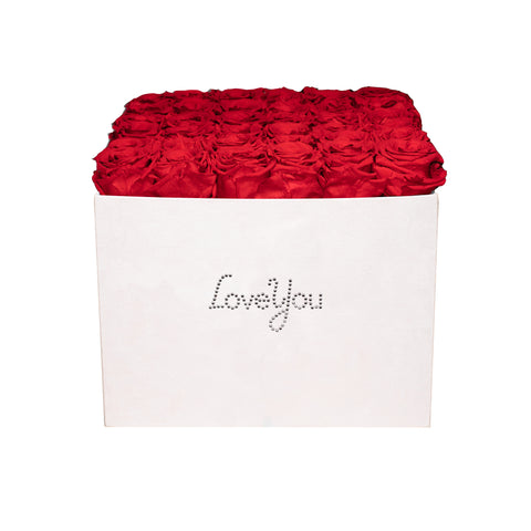 Summer Sale - Already Marked Down - Love You Pink Velvet Box - 36 Roses - Pink Pastel/x 36/Red