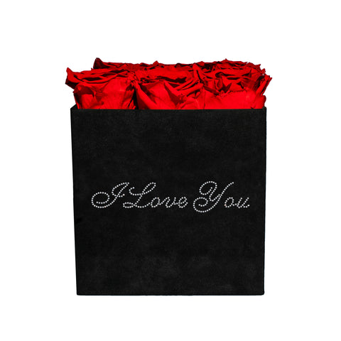 5-9 Flowers - I Love You Black Velvet - 9 Roses - Black/x 9/Red