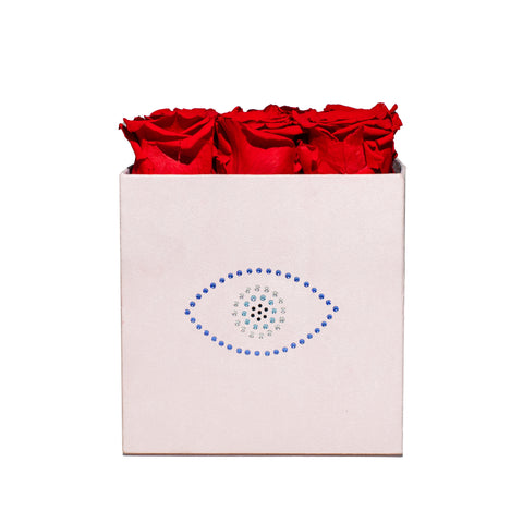 5-9 Flowers - Evil Eye Pink Velvet Box - 9 Roses - Pink Pastel/x 9/Red