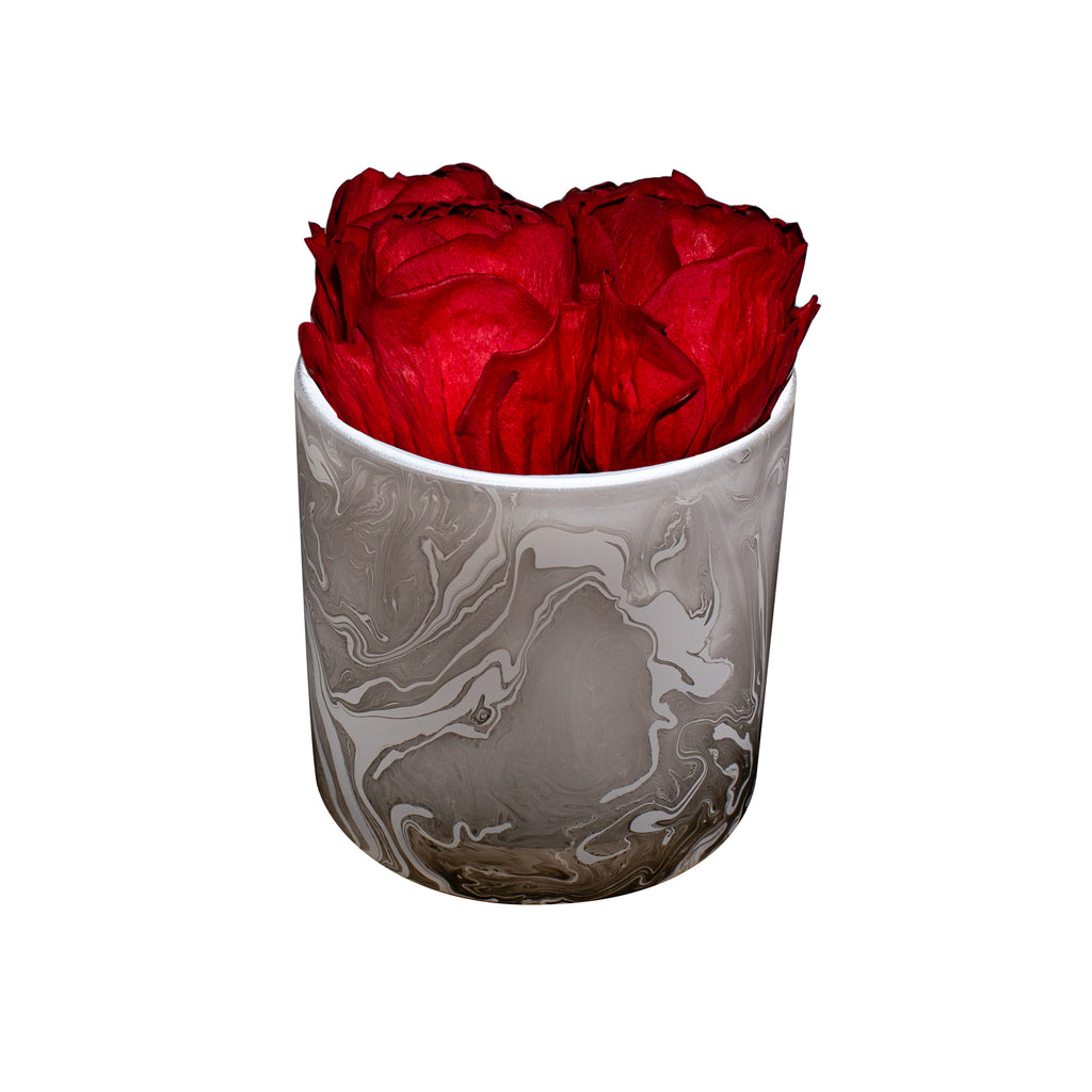Marble Glass Round - Red Peonies