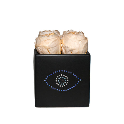 Four Season Peonies™ - Evil Eye Peach Peonies Black Grand Square - Black/x 1/Peach