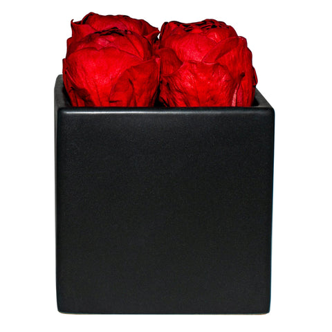 Peonies - Red Peonies Black Grand Square - Black/x 1/Red