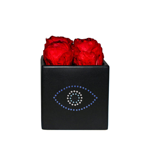 Le Jardin Collection - Evil Eye Red Peonies Black Grand Square - Black/x 1/Red
