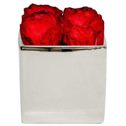 Four Season Peonies™ - Red Peonies Silver Grand Square - Silver/x 1/Red