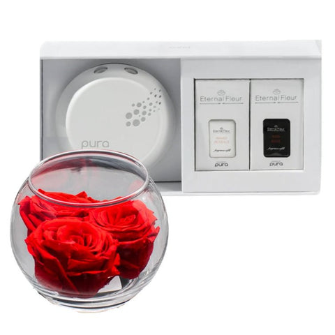 Pura Smart Home Diffuser - Pura x Forever Rose Bloom Bundle Set - White/x 1/Red